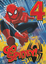 Birthday Age Card 4 Boy Spiderman