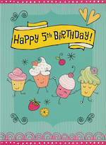 Birthday Age Card 5 Girl Cupcakes