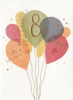 Birthday Age Card 8 Girl Balloons