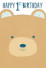 First Birthday Age Card 1 Boy Bear Face
