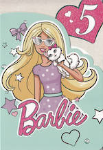 Birthday Age Card 5 Girl Barbie