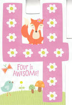 Birthday Age Card 4 Girl Awesome Fox