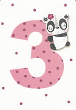 Birthday Age Card 3 Girl Pink Panda