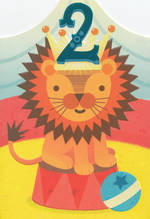 Birthday Age Card 2 Boy Circus Lion