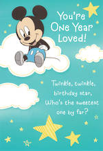 First Birthday Age Card 1 Boy Mickey Mouse Twinkle