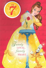 Birthday Age Card 7 Girl Belle Disney