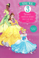 Birthday Age Card 3 Girl Princesses