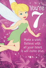 Birthday Age Card 7 Girl Tinkerbell Disney