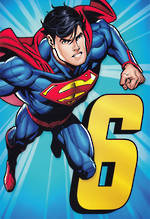 Birthday Age Card 6 Boy Superman