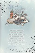 Grandson Birthday Card Sport Gear