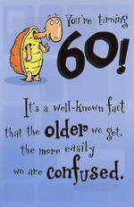 Birthday Age Card 60 Male Confused