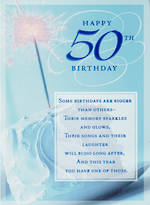 Birthday Age Card 50 Male Sparkler