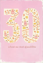 Birthday Age Card 30 Female Cute