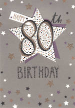 Birthday Age Card 80 Female Stars