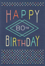 Birthday Age Card 80 Male Hallmark Large Dots