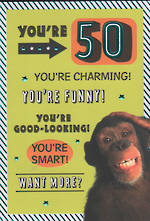 Birthday Age Card 50 Male Monkey