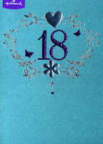 Birthday Age Card 18 Female Silver Heart