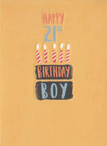 Birthday Age Card 21 Male Cake
