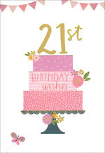 Birthday Age Card 21 Female Cake