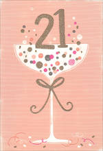 Birthday Age Card 21 Female Glass