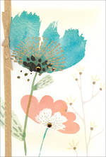 Sympathy Card Thinking of You Hallmark Blue Pink Flowers