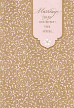 Wedding Card Hallmark Large Gold Pink Pattern
