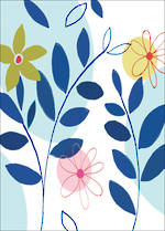 Mini Card Floral Blue Leaves