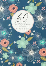 Birthday Age Card 60 Female Halcyon Blue
