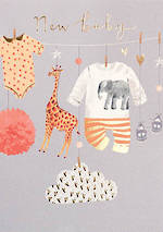 Baby Card Apricot New Baby
