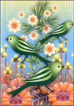 Blank Card General Catalina Green Birds