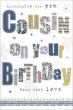 Cousin Birthday Card Stars & Foil