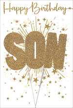Son Birthday Card Gold Flitter Sparkler