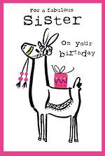 Sister Birthday Card Doodle Large Llama
