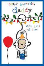 Dad Birthday Card Doodle Large Daddy Monkey