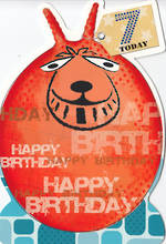 Birthday Age Card 7 Boy Hopper Diecut