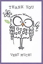 Thank you Card Doodle Owl Tall