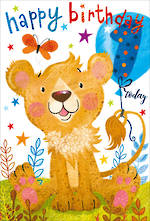 Birthday Age Card 1 Boy Lion Cub