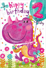 Birthday Age Card 2 Girl Party Dinosaur