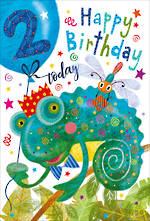 Birthday Age Card 2 Boy Chameleon