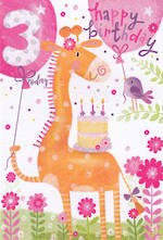 Birthday Age Card 3 Girl Tall Orange Giraffe