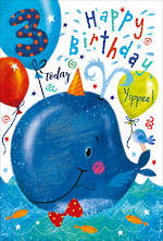 Birthday Age Card 3 Boy Party Whale