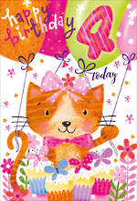 Birthday Age Card 4 Girl Cat And Balloons