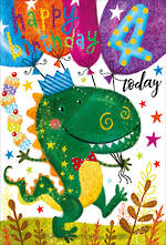 Birthday Age Card 4 Boy Party Dinosaur