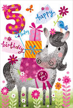 Birthday Age Card 5 Girl Horse Presents