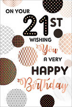 Birthday Age Card 21 Male Very Happy