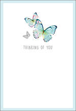 Sympathy Card Thinking Of You Aqua Butterflies