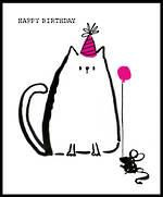 Doodle Birthday Cat With Party Hat