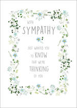 Sympathy Card Blue Wreath Border