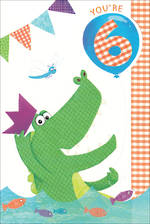 Birthday Age Card 6 Boy Crocodile