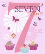 Birthday Age Card 7 Girl Candy Burst Cupcakes